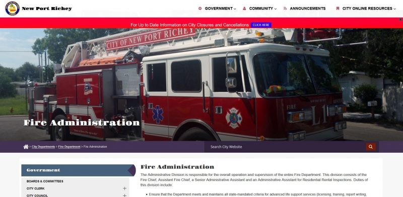 New Port Richey Fire Administration